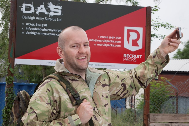 Rich Brady who runs two businesses, Recruit Packs and also Denbigh Army Surplus, stores supporting the  #LoveLiveLocal  campaign.