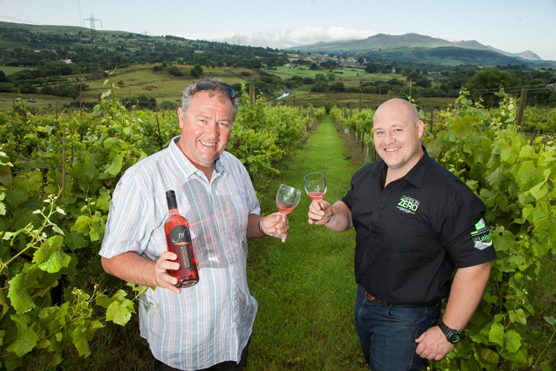 Carbon Zero at Pant Du Vineyard in Gwynedd. Pictured are Richard Huws of Pant Du and Gareth Jones Managing Director of Carbon Zero.