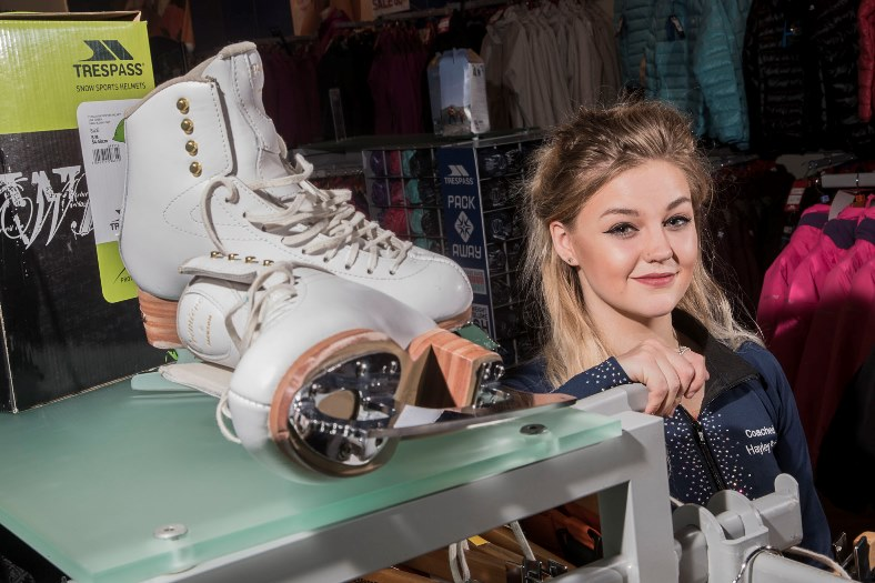 Zara Owens who works at Trespass in eagles Meadow, Wrexham. Zara is a 17-year-old talented ice skater who is training for a competition