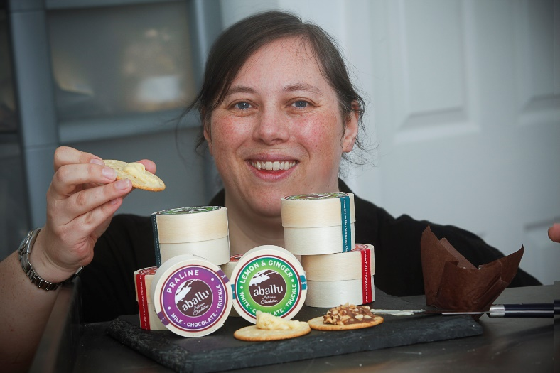Llangollen food festival. Pictured is  chocolatier Jo Edwards at Aballu in Rossett with her chocolate spread for crackers.
