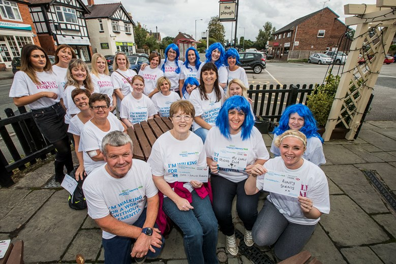 Members of Wrexham's Spire Yale staff have tackled a sponsored memory walk, starting in Gresford in aid of Alzheimer's. Front from left, David Broderick, Eirlys Uttley, Linda Jones and Lindsey Edge-Smith with the rest of the walkers.