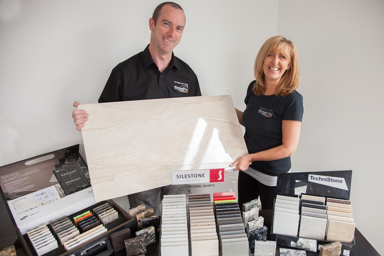 Denbighshire County Council ... local business  Stoneworkz Industries who have benefited from DCC grant scheme. Pictured are Dylan and Julie Williams.