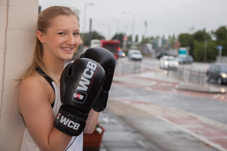 Hadlow Edwards..... Steph Edwards, a technical administrator at Hadlow Edwards Wrexham  who is training to be a boxer for a charity event. Pictured is Steph Edwards.
