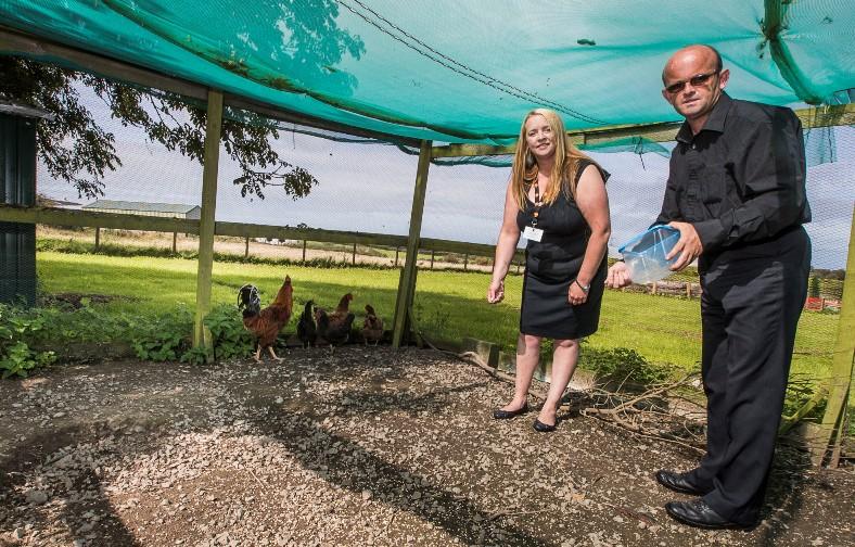Care Awards. Gwenda Potter, Regard Partnership, Amlwch with resident Stephen Hughes