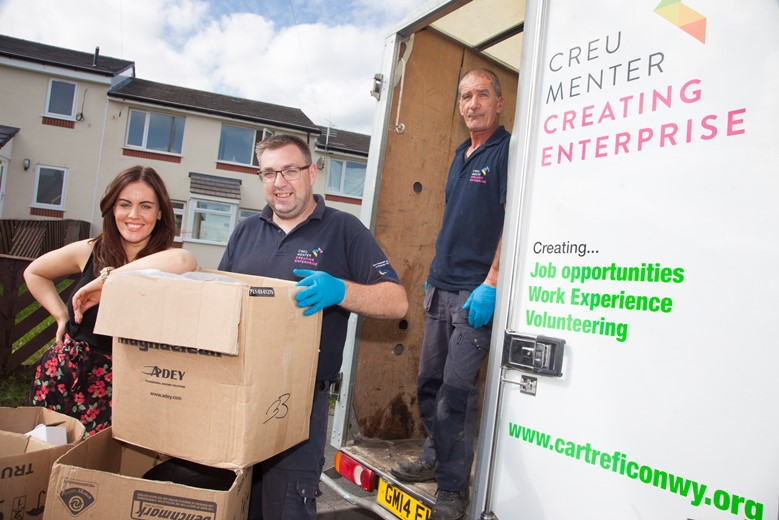 A Cartrefi Conwy organisation called  Creating Enterprise which helps get people back into work  has been shortlisted for the Social Business Wales Awards 2016.  Pictured are Ffion Lloyd, Employment Academy Mentor with  Owain Jones who was unemployed before gaining a place with the Creating Enterprise Employment Academy to work on the house clearance team along with Graham Leary .