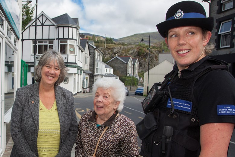 Ann Griffith, the Deputy PCC with   Briallen Edwards and PCSO Delyth Edwards at Blaenau Ffestiniog .