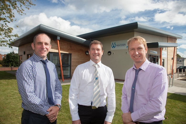WALES AND WEST HOUSING....Anwyl and Wales & West Housing  up for two major national awards. Pictured at Hightown, Wrexham are Iain Murray from Anwyl  and Gareth Jarvis and Craig Sparrow from Wales and West housing.