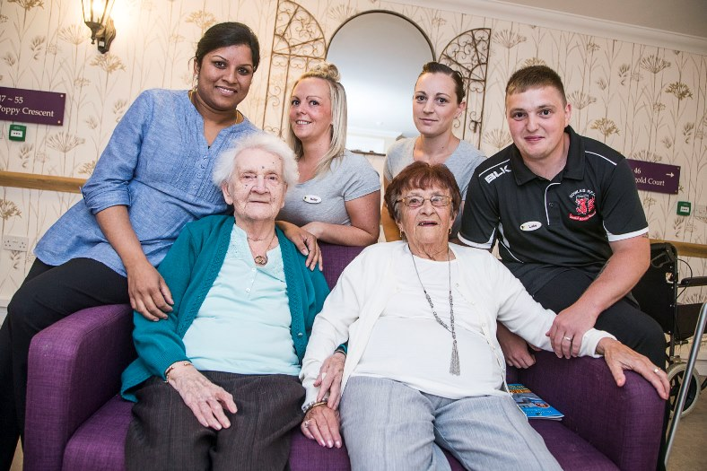 Care Awards 2016. Greenhill Manor, Merhyr Tydfil. Four nominees, back from left, Sreeja Ranjith, Kelly Collard, Patricia Brown and Luke Jenkins with residents Nancy Jones and Josephine Williams.