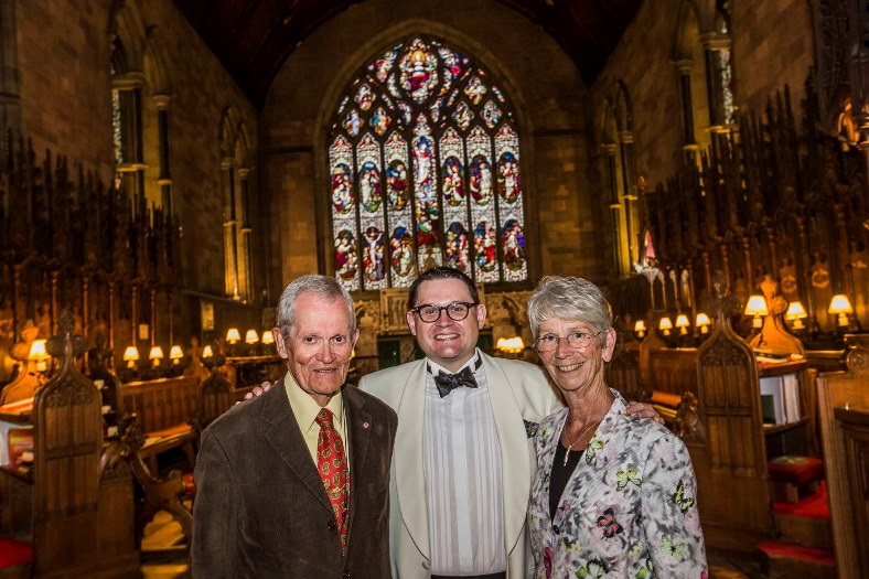 Professor Paul Mealor, who was born in St Asaph has perfomed at the launch of this year's North Wales International Music Festival. He perfomed the Welsh premiere of a new symphony played by the NEW Sinfonia orchestra at St Asaph Cathedral. Paul is pictured with John and Sue Last.