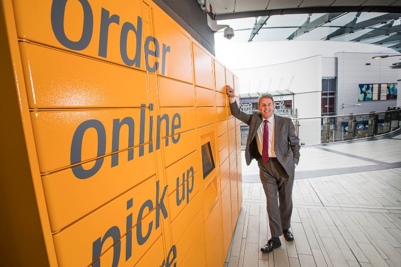 Eagles Meadow centre manager Kevin Critchley at the new Amazon lockers.