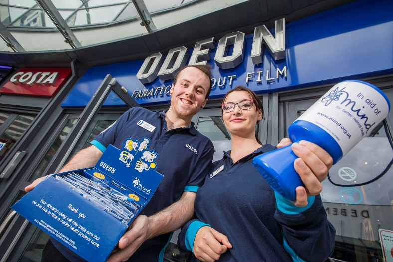 Odeon staff Conor O'Brien and Chloe Ball who climbed Snowdon for charity
