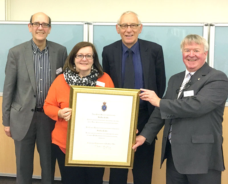 Representatives of Age Cymru Sir Gar with the High Sheriff of Dyfed's community award. Pictured left to right, Stuart Leeke, trustee, Ann Dymock, chief officer, Harvey Jones, chair of trustees, Robert Lloyd, trustee