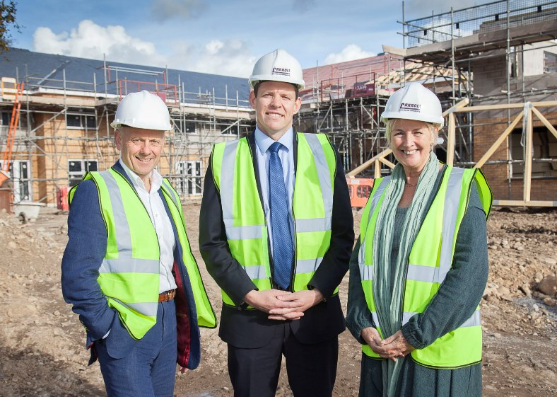 Plaid Cymru AM Sian Gwenllian and AM Rhun ap Iorwerth visit the new Pendine Care Home facility in Caernarfon. Pictured: Mario Kreft along with AMs Rhun ap Iorwerth and  Rhun ap Iorwerth