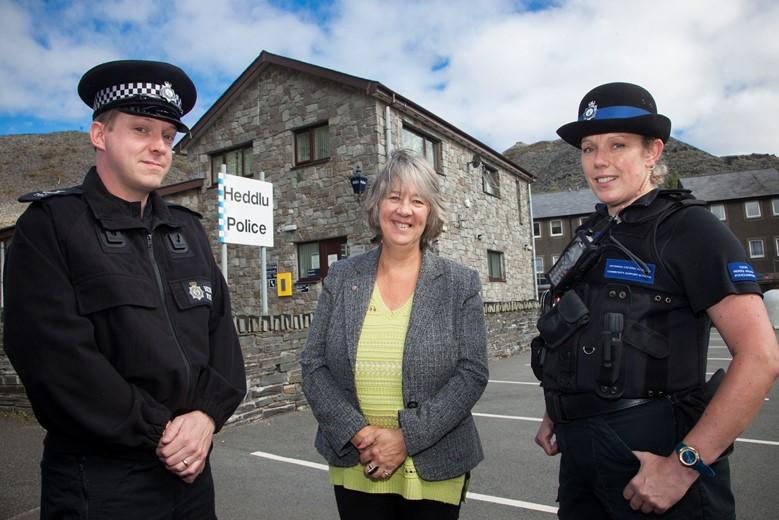 Ann Griffith, the Deputy PCC with  Sgt Iwan Jones and a PCSO Delyth Edwards at Blaenau Ffestiniog Police Station.
