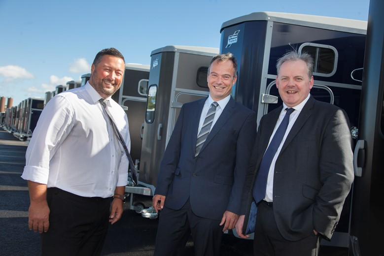 Pictured are Rob Small Business Operations Manager  and Peter Nesbitt, the Business Development Manager at Ifor Williams Trailers with Guto Bebb MP .