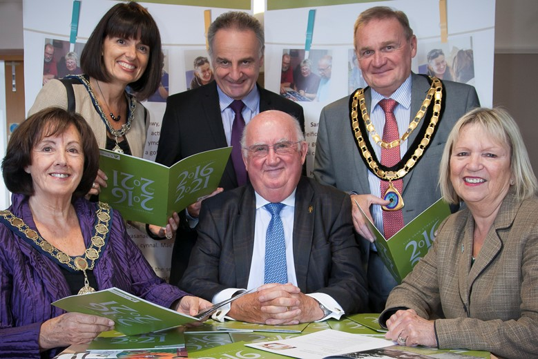 St Kentigern Hospice  launch their strategy for the forthcoming 5 years. Pictured is Trefor Jones, chairman of St Kentigern (centre) with (Front L/R) Chair of Denbighshire county council Ann Davies, Cllr Bobby Feeley, Consort to the Mayor Jane Hugo, Iain Mitchell Chief Executive at St Kentigern and Mayor of St Asaph Cllr Colin Hardie.