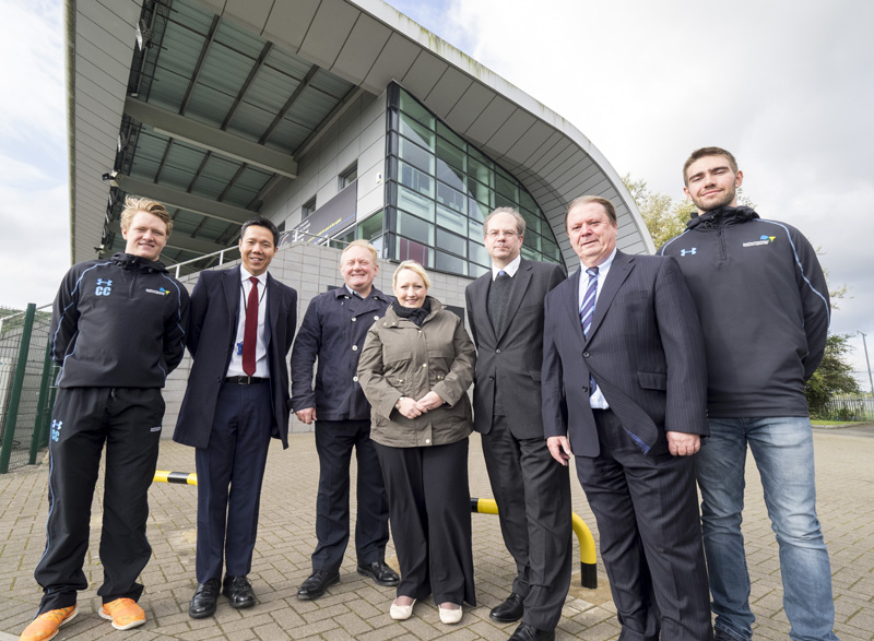 CAVC student Cameron Corsi, Ken Choo, CCFC CEO Ken Choo, CAVC Principal and Chief Executive Mike James, Minister for Social Services and Public Health Rebecca Evans AM, CAVC Deputy Principal Mark Roberts, Cardiff City House of Sport Director Steve Borley, CAVC student Daniel Coen