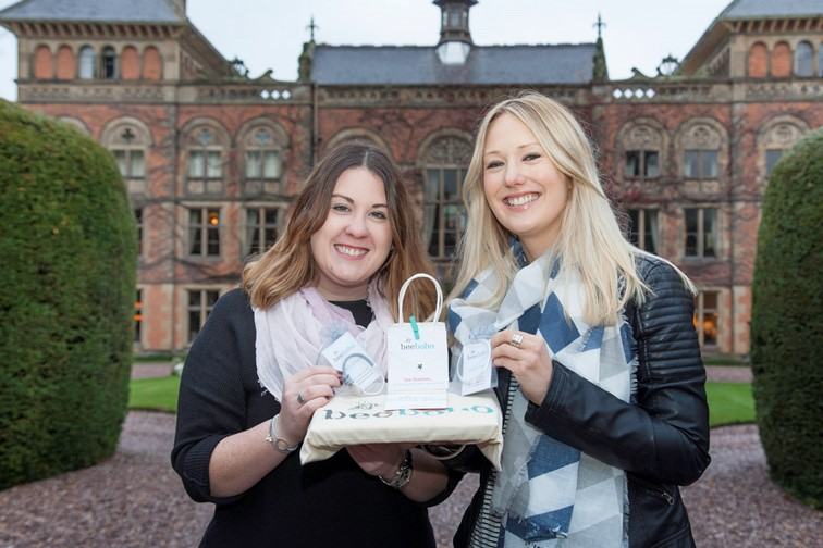 beeboho are one of the companies showcasing their gifts of jewellery and scarves at the the Christmas Gift and Craft Fayre at Soughton Hall in Sychdyn near Mold. Pictured: Proprietors Molly Whelan and Sophie Davies outside the Hall with some of their gifts