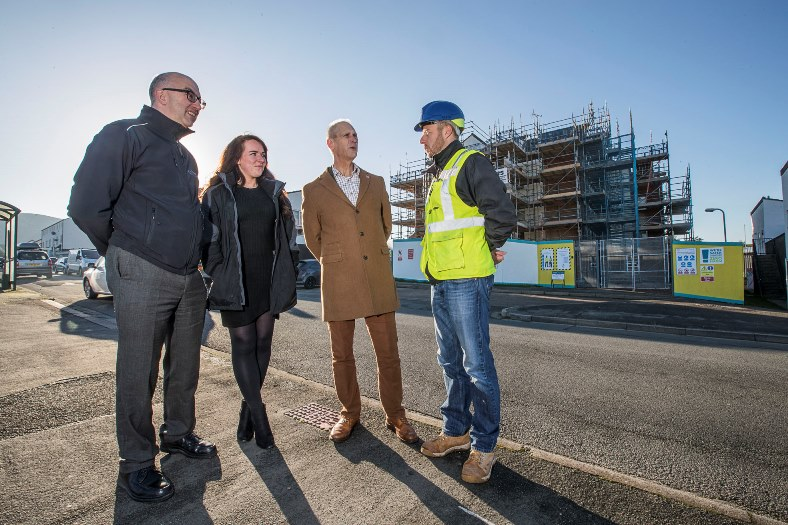 Parc Bodnant , Llandudno. Cartrefi Cowny have £5 million of works taking place on the Tre Cwm estates. Andrew Bowden with Clare Phipps, Gwynne Jones and Wate Living Space Project Manager at the site.