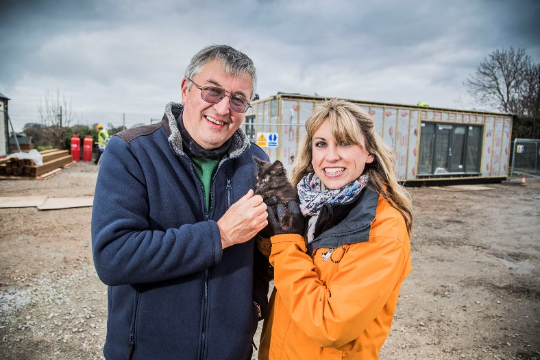 Rubicon at North Clwyd Animal Rescue, Trelogan. John Lyon from Rubicon is pictured with NCAR fund-raising manager Nicky Owens with Zanda.
