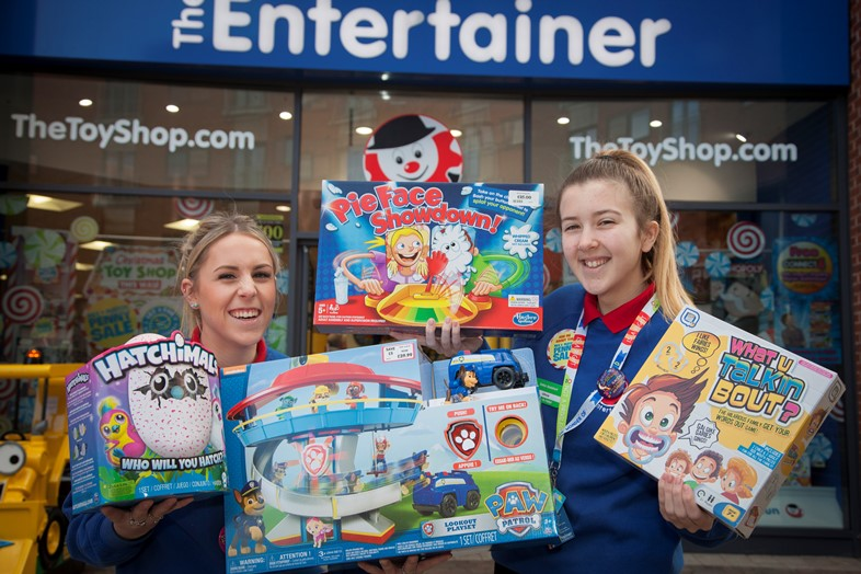 EAGLES MEADOW WREXHAM...Pictured at the Entertainer on Eagles meadow are Kelsey Davies and Olivia Hawes with this years top selling  toys for Christmas..