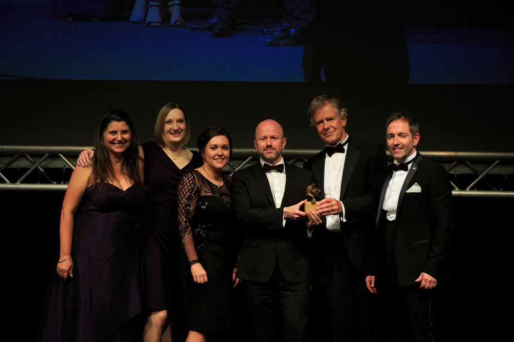 Stephen & Andrea Bristow, owners of GreenWood Forest Park with their team Emma McIntyre, Mark Rowlands and Felicity Ball with Ashley Rogers, North Wales Economic Ambitions Board, sponsor of the Tourism Innovations Award