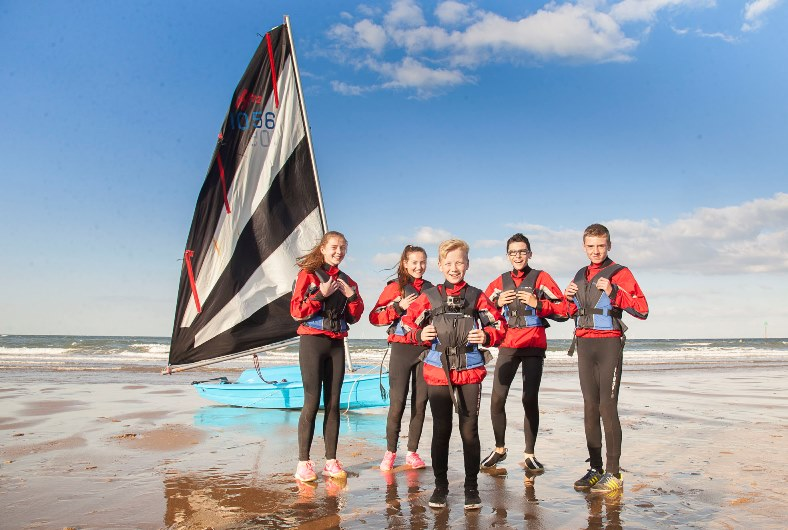 Ysgol Emrys ap Iwan pupils enjoy extra curicular activities with water sports in Porth Eirias in Colwyn Bay. Pictured: Sophie Truesdale, Cara Gaulton, Jay Bagnall, Kieran Williams and Jacob Riddle prepare for the water
