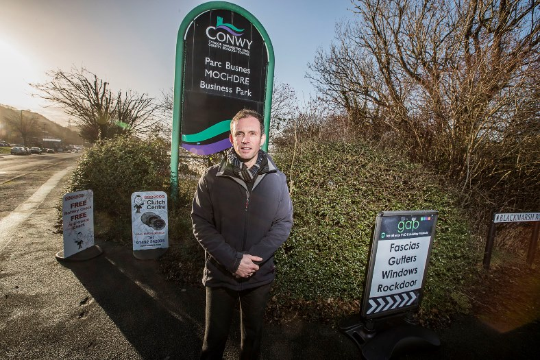 Mochdre Business Park cmapign for new signs for the area's business parks. Syd Gaskins, who is the prime mover for the campaign is pictured.
