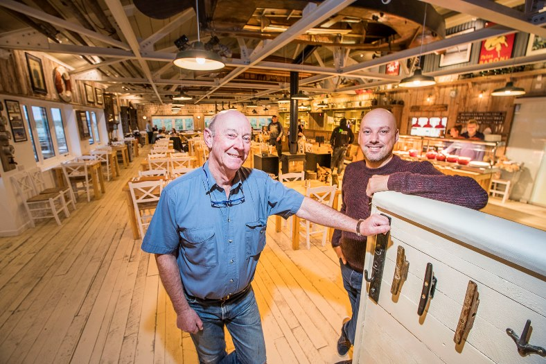 Sea Shanty Cafe, Treardur Bay. Managing Director Neil Gitton with Phil Brown, right