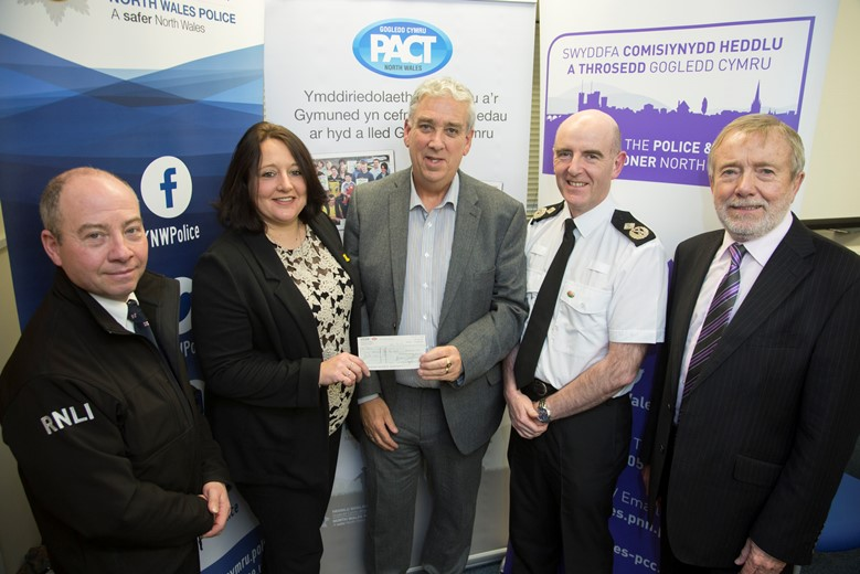 Pictured at the Your Community Your Choice awards are, from left, Gwynedd winners the Barmouth Lifeboat, from left, Martin Sampson and Jacquie Forster, with North Wales Police and Crime Commissioner Arfon Jones, Deputy Chief Constable Gareth Pritchard and David Williams, chairman of the Police and Community Trust.