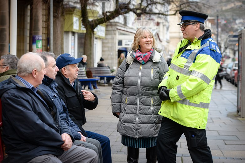 Ann Griffith, Deputy Police and Crime Commissioner on the beat in Llandudno with PCSO Chris Perkins.