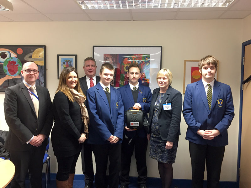 L-R: Nic Harrison (Head Teacher), Victoria Burrows (Hand on Heart), Phill Jones (Insignia Resourcing), William Taylor (Pupil), Leon Thomas (Pupil- Head Boy), Debbie Stokes (West Cheshire & North Wales Chamber of Commerce) and Jacob Burford (Pupil)