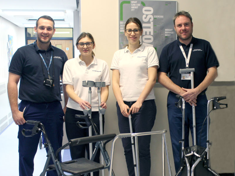 Staff at the University Hospital of Wales in the Physiotherapy Department