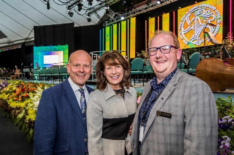 Llangollen International Musical Eisteddfod 2016. Eilir Owen Griffiths, Music Director with Mario and Gill Kreft of Pendine Park Care Homes.