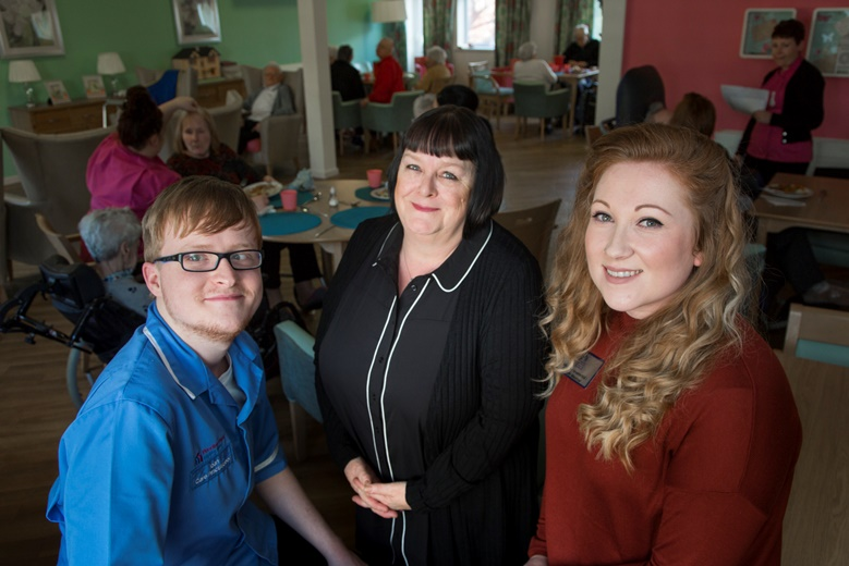 Pendine Park Step into Care scheme ......  Pictured is Ioan Wright previous work placement student  with Ann Farr, the Manager of the Pendine Park Academy and Kathryn Lewis, Youth Mentor for Communities for Work in Wrexham.