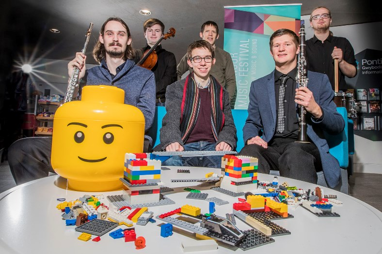 As part of this year's Bangor Music Festival the Bangor New Music Ensemble will be running a project which will involve them performing music inspired by what they see as children and adults build Lego structures. Pictured from left, Chris Schelb, Tom Renfree, composer James Jarvis, Guto Pryderi Puw, Zach Reading and Thomas Whitcombe.