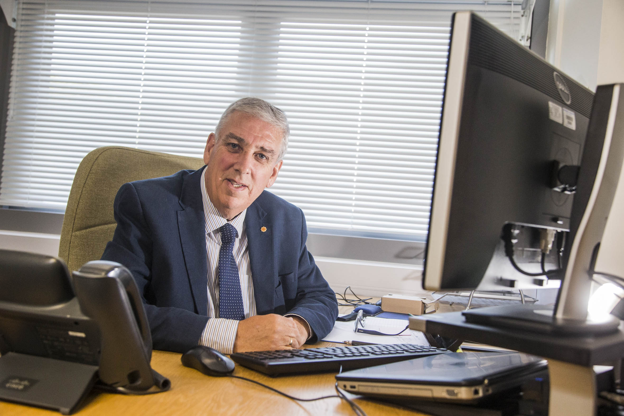 Arfon Jones, the new North Wales Police and Crime Commissioner at Police HQ in Colwyn Bay.