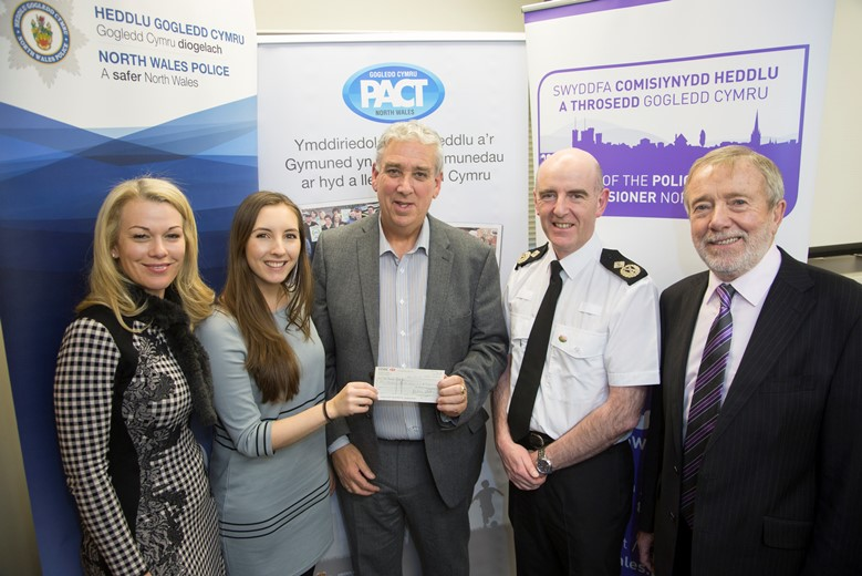 Pictured at the Your Community Your Choice awards are, from left, North Wales winners Only Boys Aloud, from left, Eleri Watkins and Louisa Turner, with North Wales Police and Crime Commissioner Arfon Jones, Deputy Chief Constable Gareth Pritchard and David Williams, chairman of the Police and Community Trust.