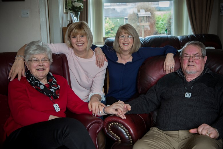 BCUHB supporting those living with dementia. Pictured are   Denise   and Brian Felgate with their youngest Daughter Claire Felgate-Davies and Crossroads dementia co-ordinator Karen Rowley.
