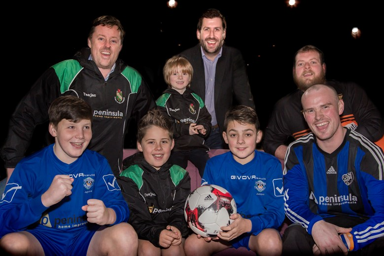 PENINSULA sponsoring Bro Goronwy  and Penmaenmawr football clubs, and Bangor under 10s rugby .... Pictured are Patrick Wright, Sonny Grayson, Morgan Rowlands, Rich Williams, Ken Grayson, Tal Grayson, Dylan Hulse and Dion Jones.