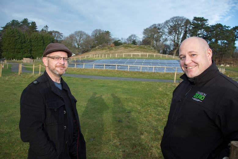 The Bodnant Garden solar array which was installed by Carbon Zero has been named as one of the top five solar installations in the world... Pictured is  Paul Southall, Environmental Advisor, National Trust and Gareth Jones, Carbon Zero MD .