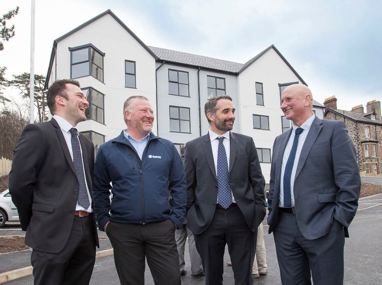 Cartrefi Conwy invite contractors and other guests who have been involved in the development of the new homes in Llanfairfechan for a tour of the new site which is nearly completed. Pictured: Brenig's construction's Mark Parry, Jim Twist, Howard Vaughan and Mike Roberts from Beech Development
