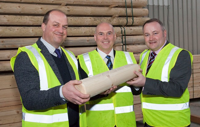 Clifford Jones Timber in Ruthin have a meeting with local AM Darren Millar and Shadow Economy Minister Paul Davies. Pictured: Richard Jones along with Shadow Economy Minister Paul Davies and AM Darren Millar take a Tour of the site and take a closer look at the quality of the wood