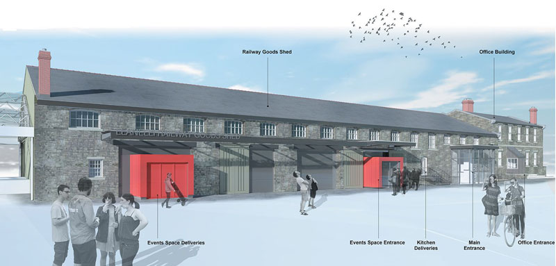 Artist's impression of what the outside of the Goods Shed building could look like