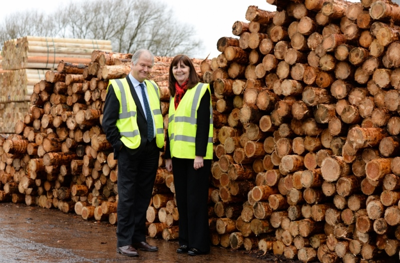 Lesley Griffiths, AM, Welsh Government Minister for Environment visits Clifford Jones Timber in Ruthin pictured with Alan Jones.