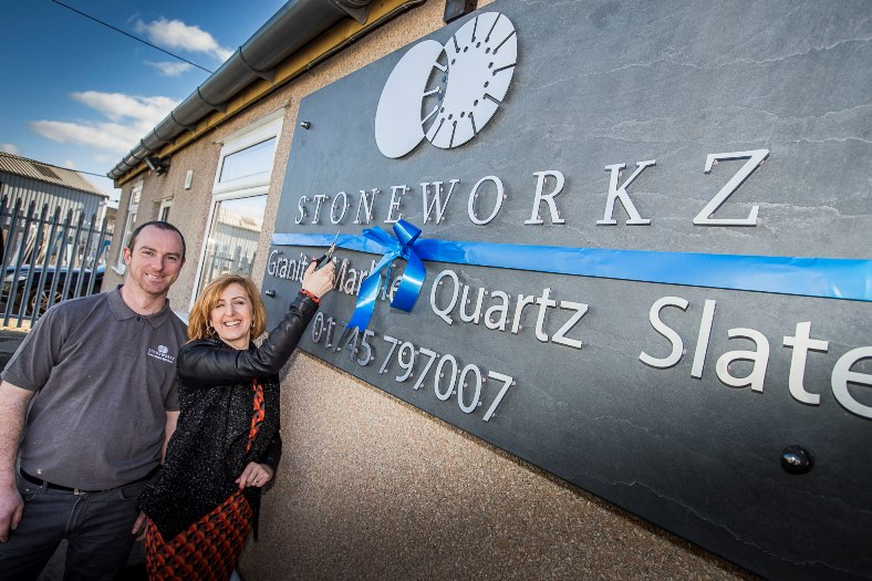 Official opening of a new showroom of Stoneworkz in Denbigh. Owners Dylan and Julie Williams.