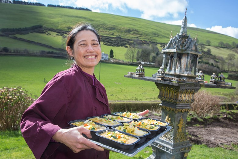 Authentic Thai Cuisine ...The home-run business belongs to Dtoi Harvey who has received a council grant fromDenbighshire council to purchase a new blast chiller and freezer room. This will enable her to start supplying frozen ready meals . Pictured is Dtoi Harvey .