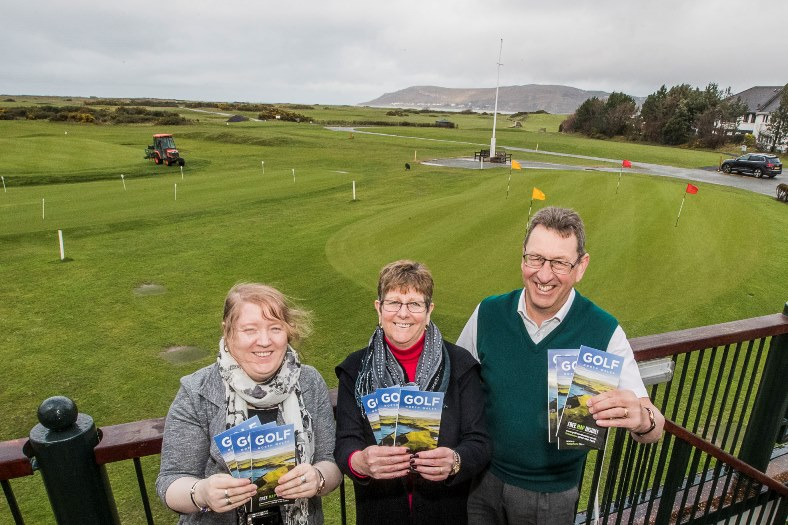 North Wales Tourism which has just launched a golf brochure highlighting the best of the region's golf courses, including Conwy. From left, Eirlys Jones, Mandy Evans, and manager Chris Chance with the leaflet