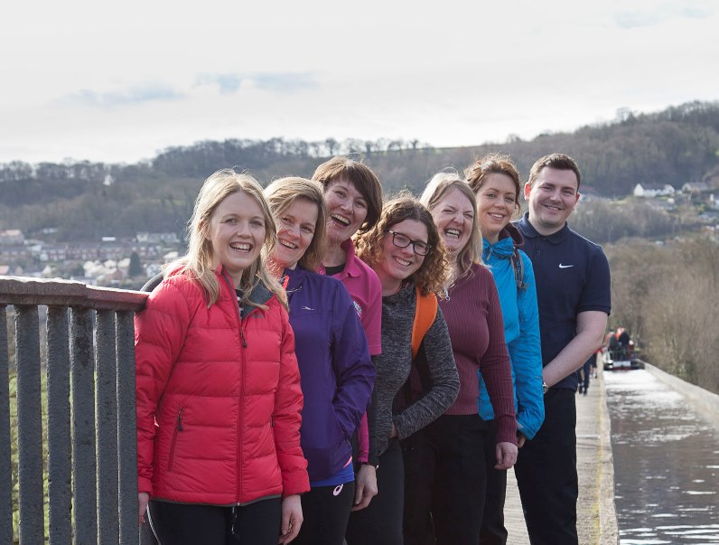 Swayne Johnson Solicitors enjoy the Llangollen Hope House/Ty Gobaith charity walk from The Trevor Basin in Pontcysyllte to Chirk Bank. Pictured: The Swayne Johnson Team Anna Whittingham, Bethan Lloyd-Taylor, Ty Gobaith's Eluned Yaxley, Sara Evans, Cath Jones, Mared Williams and Shaun Hughes