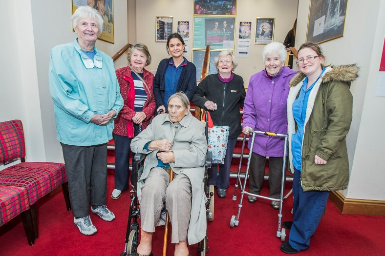 People with dementia, and their carers watched a special screening of Singing in the Rain at Theatr Colwyn.  During the intervalthe Welsh National Opera and Canu Conwy, the Conwy Council staff choir  entertained the audience. A group from Beechcourt Care Home, front Brenda Shufflebotham, back from left, Maureen Jones, Doreen Ashley, carer Sian Meelan, Marfaret Davies, Marjorie Williams and carer Sian Williams.